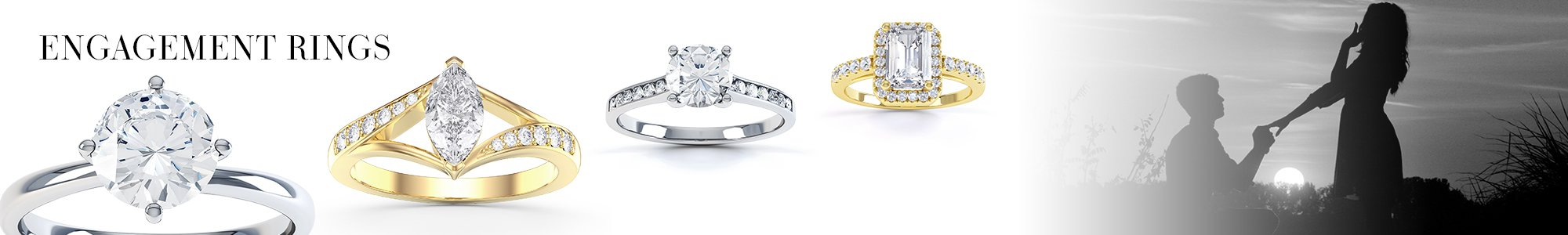 Engagement Rings - From White Sapphire set in Silver to Diamonds set in 18ct Gold or Platinum.