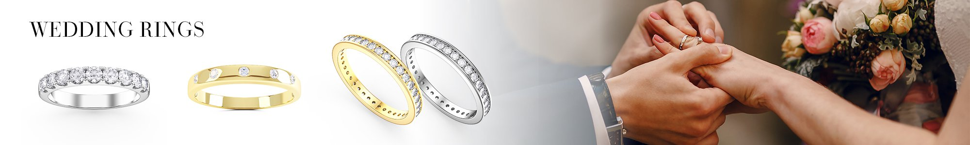 Wedding Rings - From White Sapphire set in Silver to Diamonds set in 18ct Gold or Platinum.