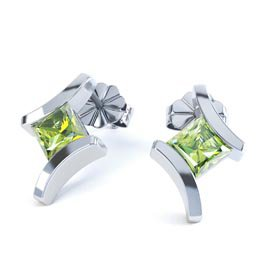 Combinations Peridot Square Rhodium plated Silver Earrings
