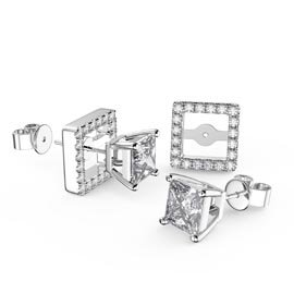 Charmisma Princess White Sapphire Platinum Plated Silver Stud Earrings Halo Jacket Set