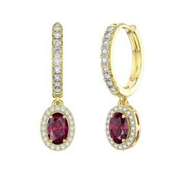 Eternity 1ct Ruby Oval Halo Drop Hoop Earrings in 18ct Gold Vermeil