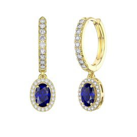Eternity 1ct Blue and White Sapphire Oval Halo Drop Hoop Earrings in 18ct Gold Vermeil