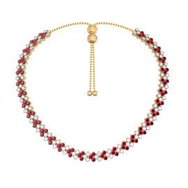 Eternity Three Row Ruby and White Sapphire 18ct Gold Vermeil Adjustable Choker Tennis Necklace