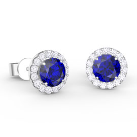Eternity 1ct Sapphire and Diamonds Halo 18ct White Gold Stud Earrings