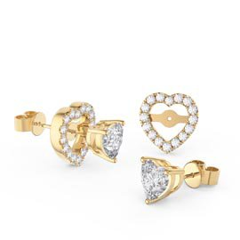Charmisma Heart White Sapphire 18ct Gold Vermeil Stud Earrings Halo Jacket Set