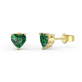 Charmisma 1ct Emerald Heart 9ct Yellow Gold Stud Earrings