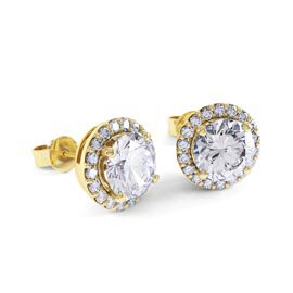 Eternity 2ct White Sapphire Halo 18ct Gold Vermeil Stud Earrings