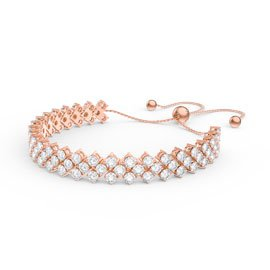 Eternity Three Row Diamond CZ 18ct Rose Gold plated Silver Adjustable Tennis Bracelet