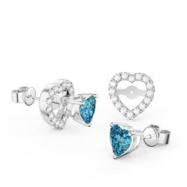 Charmisma Heart Blue Topaz  and White Sapphire Platinum Plated Silver Stud Earrings Halo Jacket Set