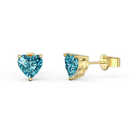 Charmisma 1ct Heart Swiss Blue Topaz 18ct Gold Vermeil Stud Earrings