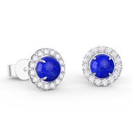 Halo Lapis Platinum plated Silver Stud Earrings