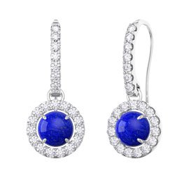 Lapis and Diamond Halo 18ct White Gold Pave Drop Earrings