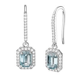 Princess Aquamarine Emerald Cut Halo Platinum plated Silver Pave Drop Earrings