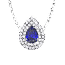 Fusion Sapphire Halo Platinum plated Silver Pear Pendant