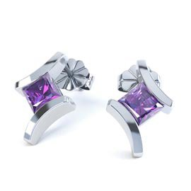 Combinations Amethyst Square 18ct White Gold Earrings