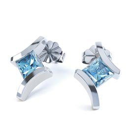 Combinations Blue Topaz Square Rhodium plated Silver Earrings