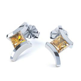 Combinations Citrine Square Rhodium plated Silver Earrings