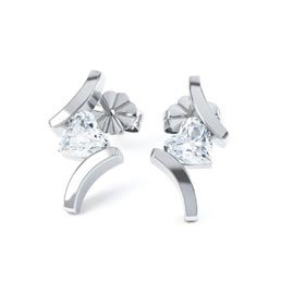 Combinations White Topaz Heart Rhodium plated Silver Earrings