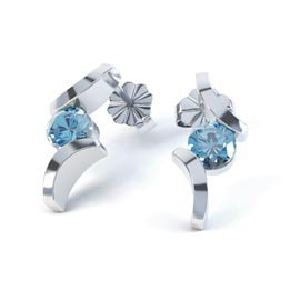 Combinations Blue Topaz Round Rhodium plated Silver Earrings