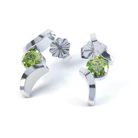 Combinations Peridot Round Rhodium plated Silver Earrings