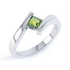 Combinations Peridot Square Stacking Silver Ring