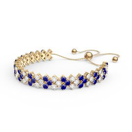 Eternity Three Row Sapphire 18ct Gold Vermeil Adjustable Tennis Bracelet