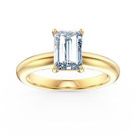 Unity 1ct Aquamarine Emerald Cut Solitaire 18ct Yellow Gold Engagement Ring Jian London
