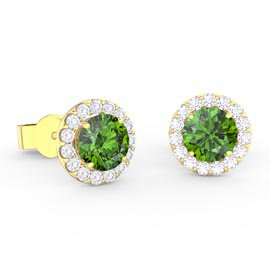 Halo 1ct Peridot 18ct Gold Vermeil Halo Stud Earrings