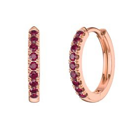Charmisma Ruby 18ct Rose Gold Vermeil Hoop Earrings Small