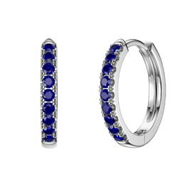 Charmisma Blue Sapphire Platinum plated Silver Hoop Earrings Small