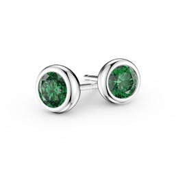 Infinity Emerald 18ct White Gold Stud Earrings
