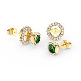 Infinity Emerald 18ct Gold Vermeil Stud Earrings Halo Jacket Set