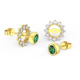 Infinity Emerald 18ct Gold Vermeil Stud Starburst Earrings Halo Jacket Set