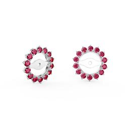 Fusion Ruby 18ct White Gold Gemburst Halo Earring Jackets