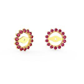 Fusion Ruby 18ct Yellow Gold Gemburst Halo Earring Jackets