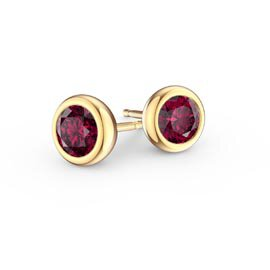 Infinity Ruby 18ct Yellow Gold Stud Earrings
