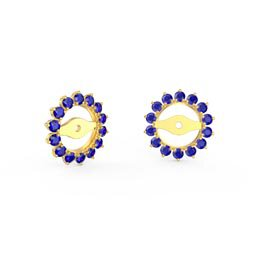Fusion Sapphire 18ct Yellow Gold Gemburst Halo Earring Jackets