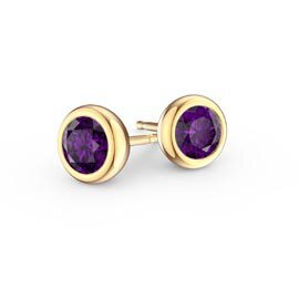 Infinity Amethyst 18ct Yellow Gold Stud Earrings