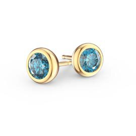 Infinity Blue Topaz 18ct Yellow Gold Stud Earrings