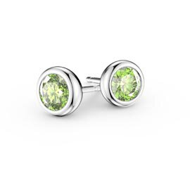 Infinity Peridot Platinum plated Silver Stud Earrings