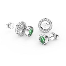 Infinity Peridot Platinum plated Silver Stud Earrings Halo Jacket Set