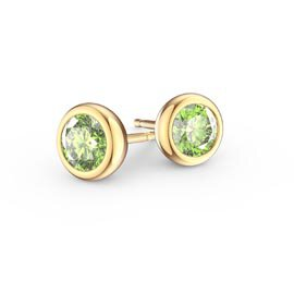 Infinity Peridot 18ct Gold Vermeil Stud Earrings
