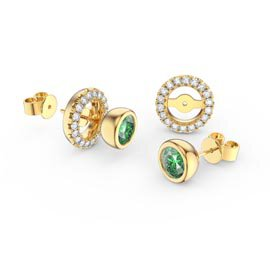 Infinity Peridot 18ct Gold Vermeil Stud Earrings Halo Jacket Set