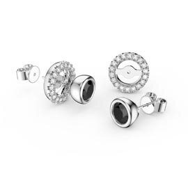 Infinity Onyx Platinum plated Silver Stud Earrings Halo Jacket Set