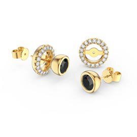 Infinity Onyx 18ct Gold Vermeil Stud Earrings Halo Jacket Set