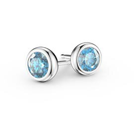 Infinity Aquamarine 18ct White Gold Stud Earrings