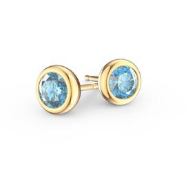 Infinity Aquamarine 18ct Yellow Gold Stud Earrings