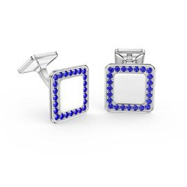 Signature Sapphire 9ct White Gold Cushion Cufflinks
