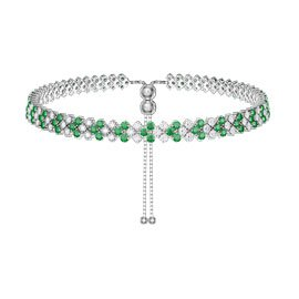 Eternity Three Row Emerald and Diamond CZ Silver Adjustable Choker Tennis Necklace
