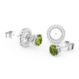 Charmisma 1ct Peridot Platinum Plated Silver Stud Earrings Halo Jacket Set